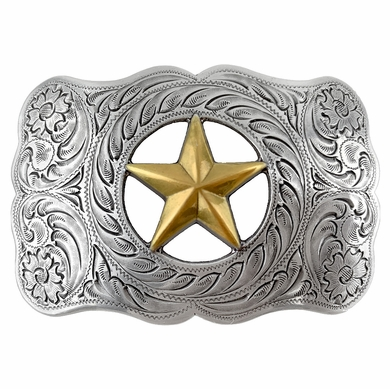 Texas Ranger Star Gold and sterling silver engraved Western Belt Buckle H8459