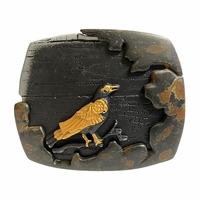 Vintage Antique Black Gold Crow Engraved 3D Buckle