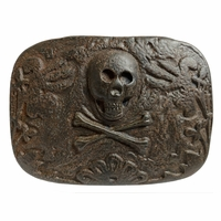 Vintage Copper Skull Punk Belt Buckle