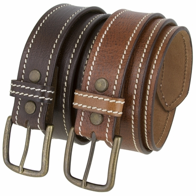 "Virginia Men's Casual One Piece Full Grain Leather Belt 1 1/2"" Wide"