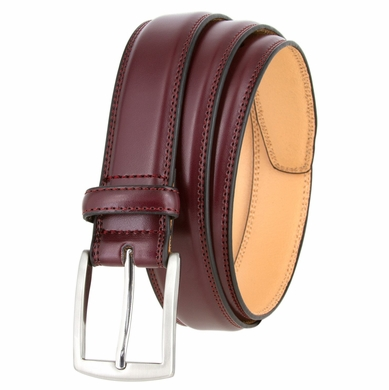 "Washington Men's Genuine Leather Belt With Polished Silver Buckle 1 1/4"" Wide"