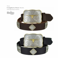 "Western Cowboy Cowgirl Belt Texas Longhorn Steer Buckle with Matching Conchos Full Grain Oil Tanned Leather Belt 1-1/2"" wide"