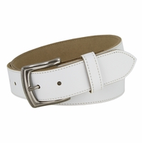 "White Stitched Edge Casual Genuine Leather Belt 1-1/2"" Wide"