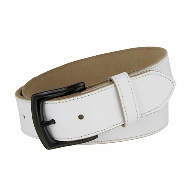 "White Stitched Edge Casual Genuine Leather Belt 1-1/2"" Wide - Black Buckle"