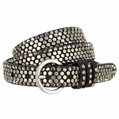 """Women's Rhinestone and Flat Stud Covered Belt with Round Buckle 1"""" wide"""