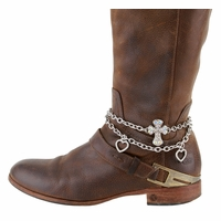 Women's  Rhinestone Studded Cross With Hearts Boot Chain Accessorie - Silver