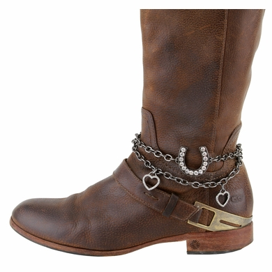 Women's  Rhinestone Studded Horseshoe With Hearts Boot Chain Accessorie Copper & Dark Silver