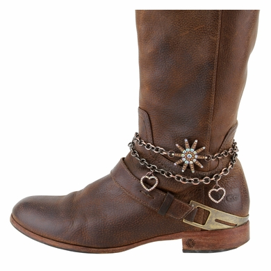 Women's  Rhinestone Studded Spur With Hearts Boot Chain Accessorie -Copper