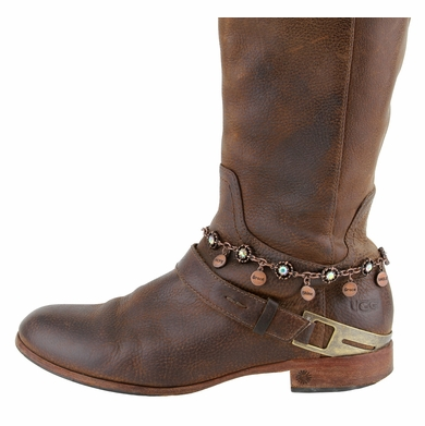 Women's Rhinestone With Charms Boot Chain Accessorie- Copper