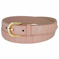 Women's Skinny Alligator Skin Embossed Leather Casual Dress Belt with Buckle - Light Purple