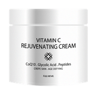 Vitamin C Rejuvenating Cream with CoQ10, Glycolic Acid & Peptides - CHOICE of 4 or 8 oz