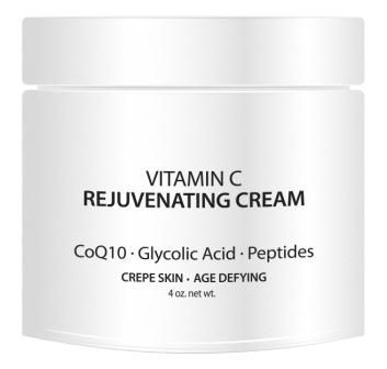 Vitamin C Rejuvenating/Firming Cream with CoQ10, Glycolic Acid & Peptides - Great for Wrinkles & Crepey Skin