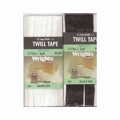 """1/2"""" Wide Twill Tape, 23.75m long, 100% Polyester Black"""