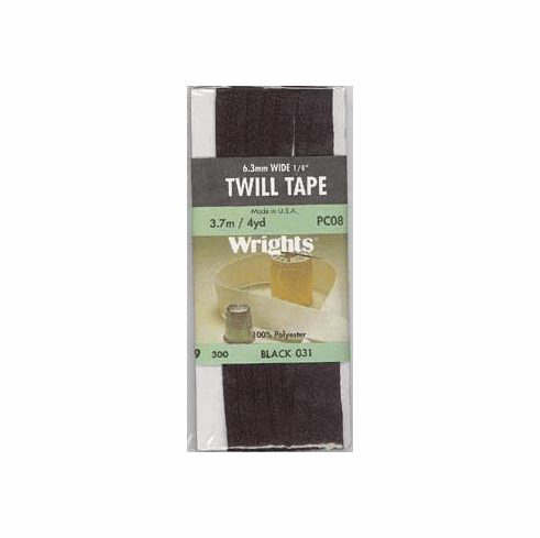 """1/4"""" Wide Twill Tape, 6mm x 3.7m, 100% Polyester Black"""