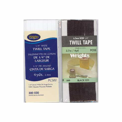 "1/4"" Wide Twill Tape, 6mm x 3.7m, 100% Polyester Black"