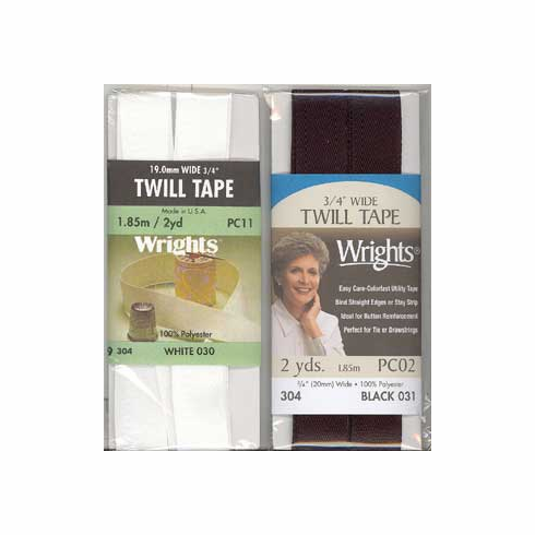 """3/4"""" Wide Twill Tape, 19mm x 1.85m, Polyester White"""
