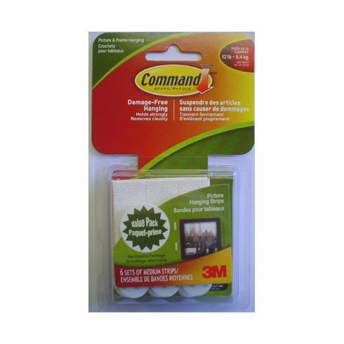 3M Medium Picture/Quilt Hanging Strips, 6 sets