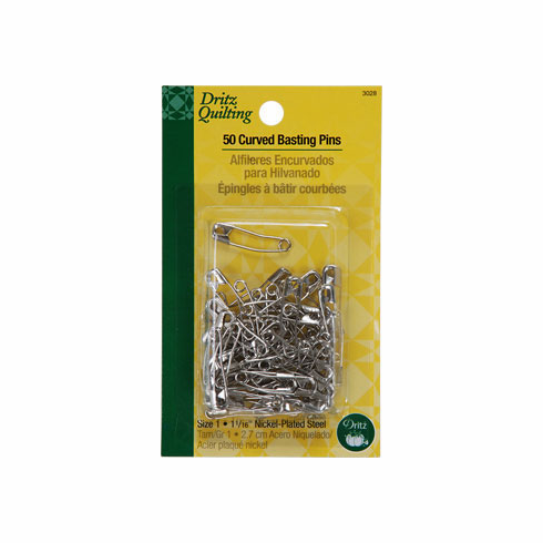 "50 Count Curved Basting Pins, 1-1/165"" (2.7cm) Long"