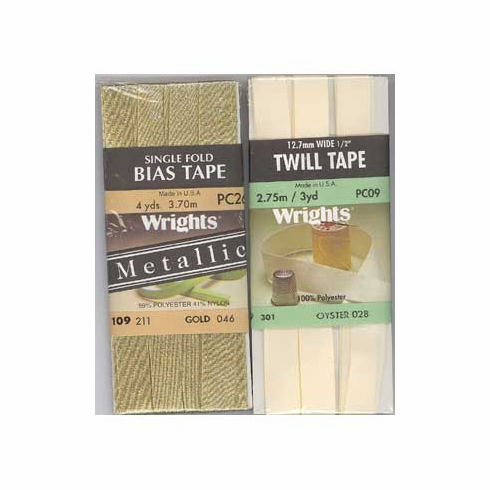 Bias Tape, Metallic Extra Wide Double Fold, 13mm x 2.75mGold Lame