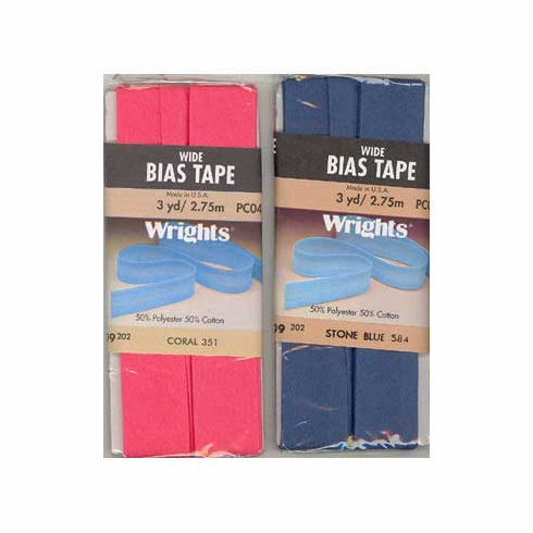 Bias Tape, Wide Single Fold, 22mm x 2.75m Coral