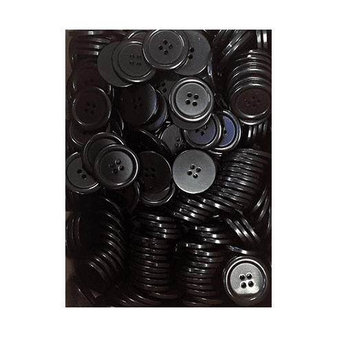 Countess Bulk Men's Suit Buttons, 4-Hole, Size 45, Black, 28mm