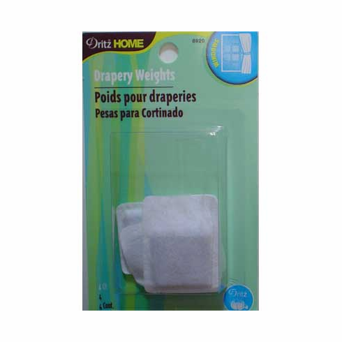 Covered Drapery Weights with sewing tab, 4 count, white