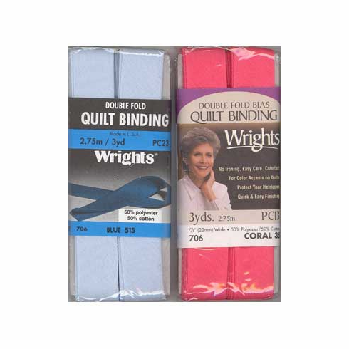 Double Fold Quilt Binding, 22mm x 2.75m Blue