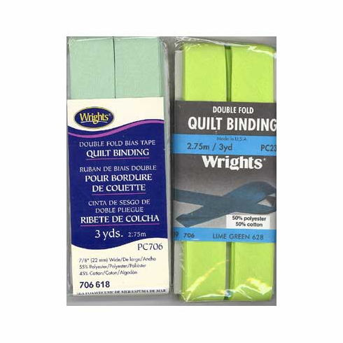 Double Fold Quilt Binding, 22mm x 2.75m Lime Green