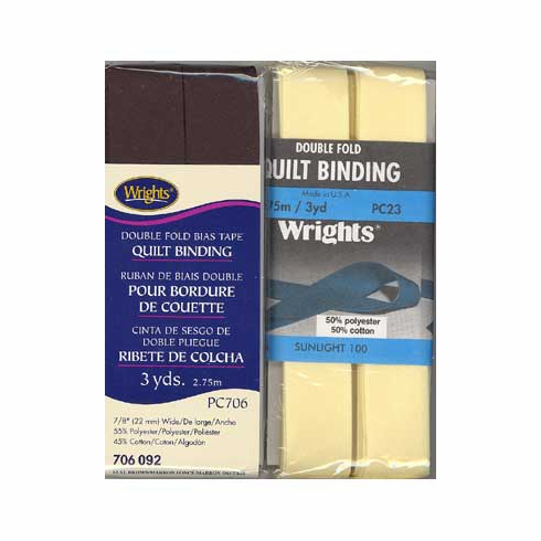 Double Fold Quilt Binding, 22mm x 2.75m Seal Brown