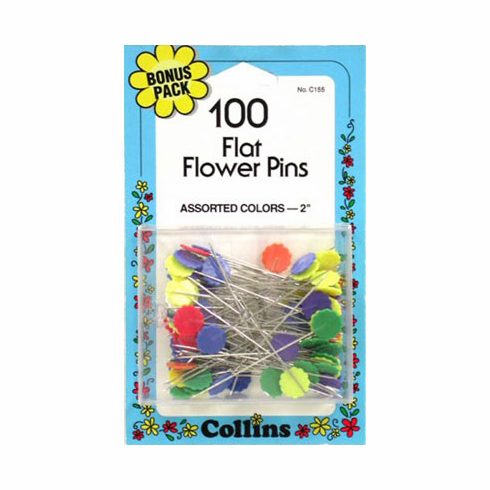 "Flat Flower Pins, 2"" Assorted Color, 100 Count"