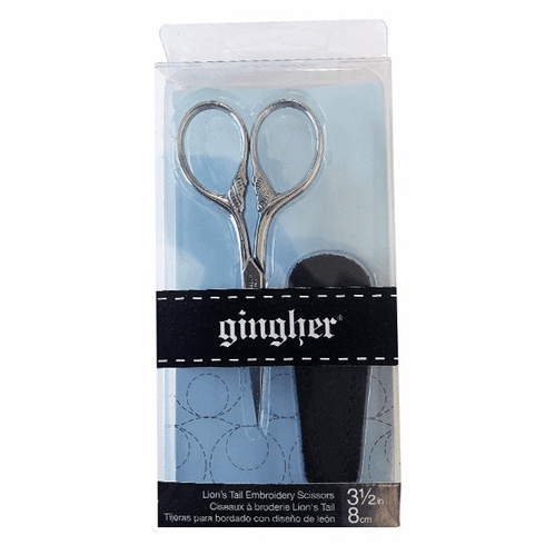 """Gingher Lion's Tail Embroidery Scissors with Fitted Sheath, 3.5"""" (8cm)"""