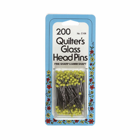 Glass Head Pins, 200 count, 35mm Yellow Head