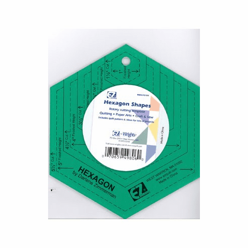 Hexagon Shapes Rotary Cutting Acrylic Template - Assorted Colour: Green/Transparent