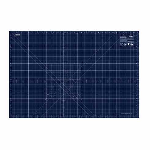 """Olfa 6"""" x 8"""" Double Sided Self-Healing Rotary Cutting Mat in Navy Blue"""