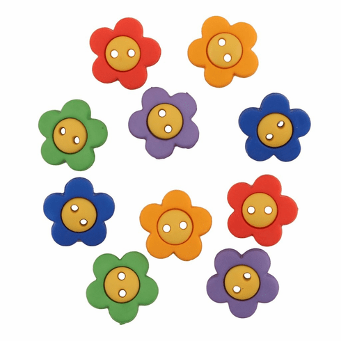 Primary Flowers Buttons