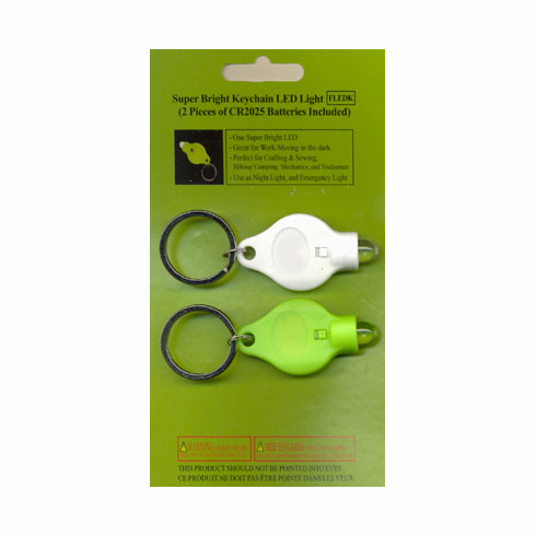 Super Bright Keychain LED Mini-Flashlight, 2 count, Assorted colors.