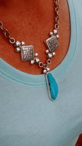 Silver Diamond and Turquoise Pendant