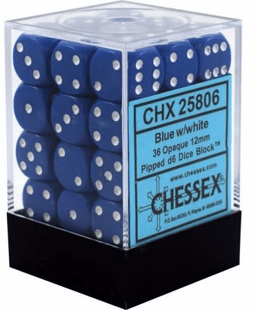 Chessex Opaque Blue/white Pipped d6 Dice Block