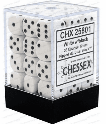 Chessex Opaque White/black Pipped d6 Dice Block