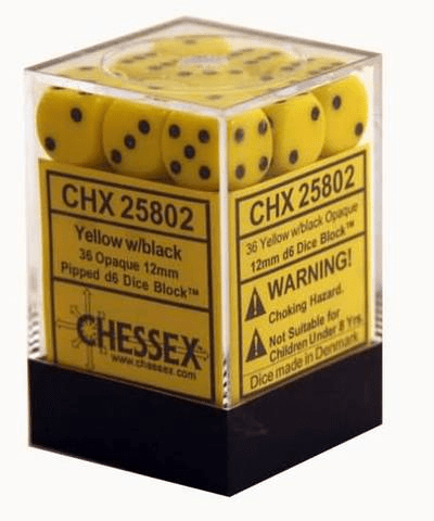 Chessex Opaque Yellow/black Pipped d6 Dice Block