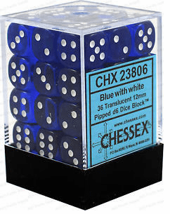 Chessex Translucent Blue/white Pipped d6 Dice Block