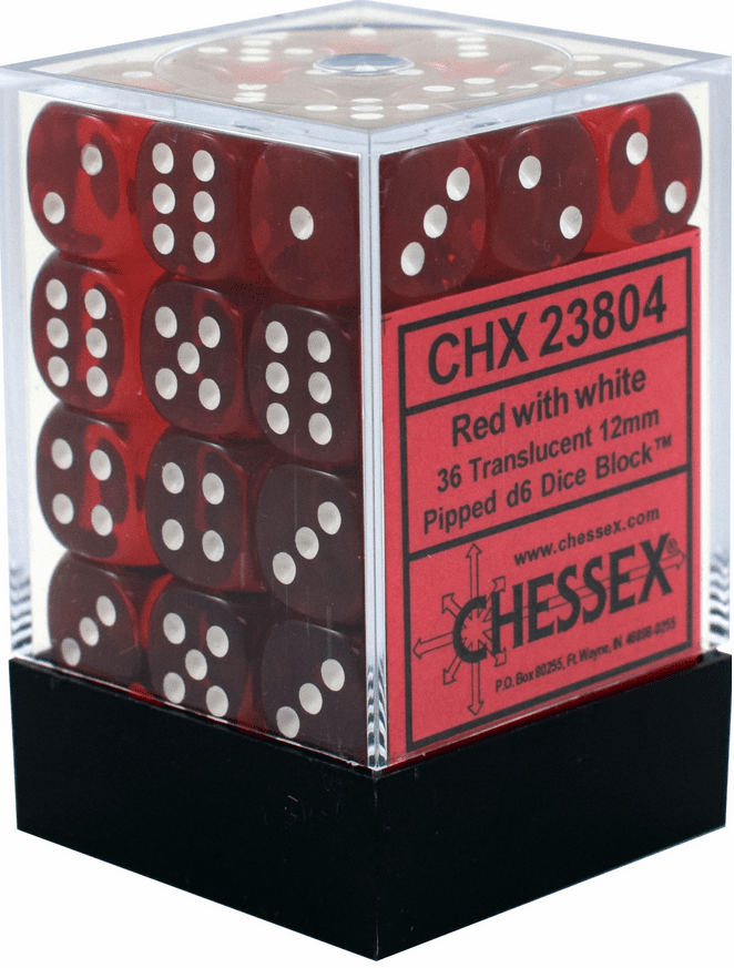 Chessex Translucent Red/white Pipped d6 Dice Block