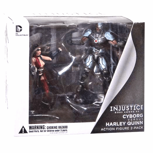 DC Injustice Gods Among Us Cyborg vs. Harley Quinn Figure Set
