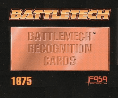 FASA Battletech Battlemech Recognition Cards