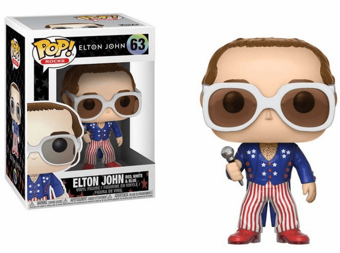 Funko Pop Rock Vinyl Elton John Red, White, & Blue Figure
