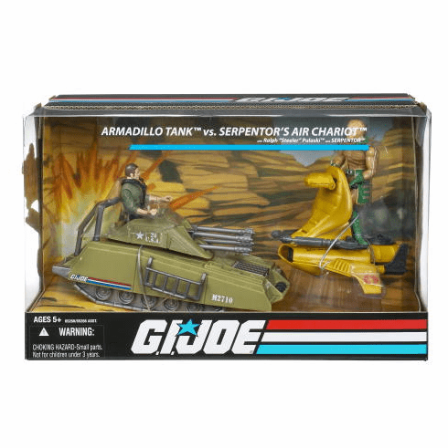 G.I. Joe Wave 1 Armadillo Tank vs Serpentor Air Chariot Vehicle