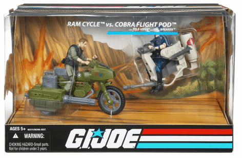 G.I. Joe Wave 1 Ram Cycle vs Cobra Flight Pod Vehicle