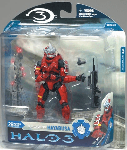 Halo 3 Series 3 Spartan Soldier Hayabusa with Battle Rifle Figure