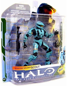 Halo 3 Series 5 Spartan Soldier Scout Cyan Figure