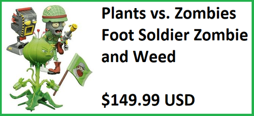 Plants vs. Zombies Foot Soldier Zombie and Weed Figure Set